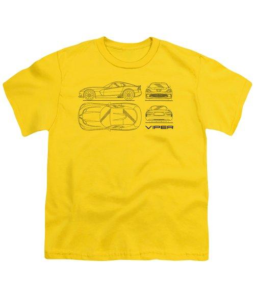 Srt Viper Blueprint Youth T-Shirt by Mark Rogan
