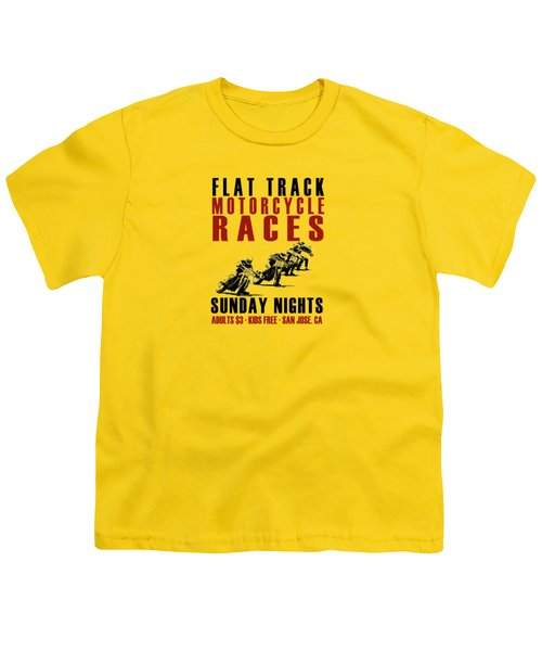 Flat Track Motorcycle Races Youth T-Shirt by Mark Rogan