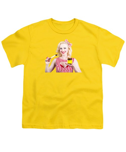 Australian Pinup Woman Holding Sandwich Spread Youth T-Shirt