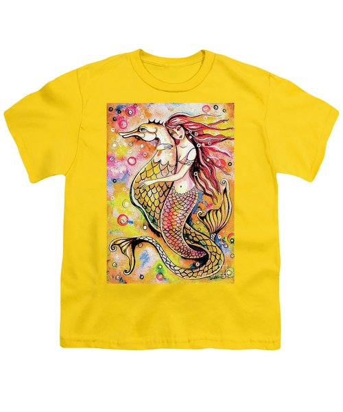 Youth T-Shirt featuring the painting Black Sea Mermaid by Eva Campbell