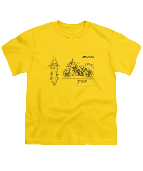 Blueprint Of A Z1000 Motorcycle Youth T-Shirt