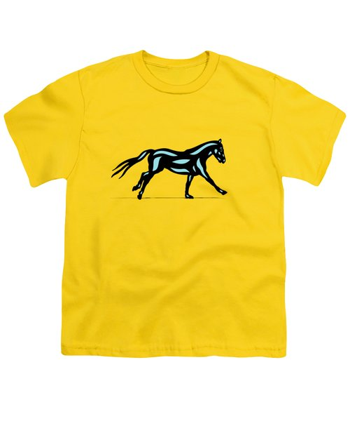 Clementine - Pop Art Horse - Black, Island Paradise Blue, Primrose Yellow Youth T-Shirt by Manuel Sueess