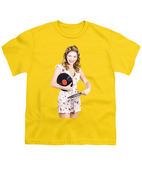 Youth T-Shirt featuring the photograph Dj Disco Pin-up Girl Rocking Out To Retro Vinyl  by Jorgo Photography - Wall Art Gallery