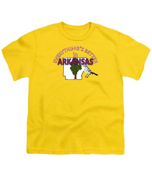 Everything's Better In Arkansas Youth T-Shirt by Pharris Art