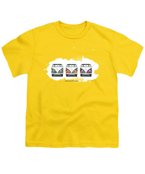 Flower Power Vw Youth T-Shirt by Mark Rogan