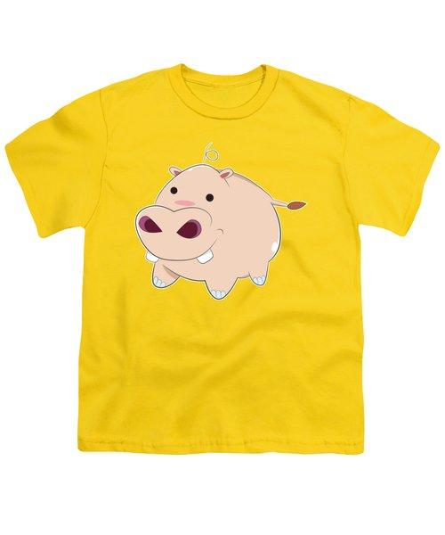 Happy Cartoon Baby Hippo Youth T-Shirt