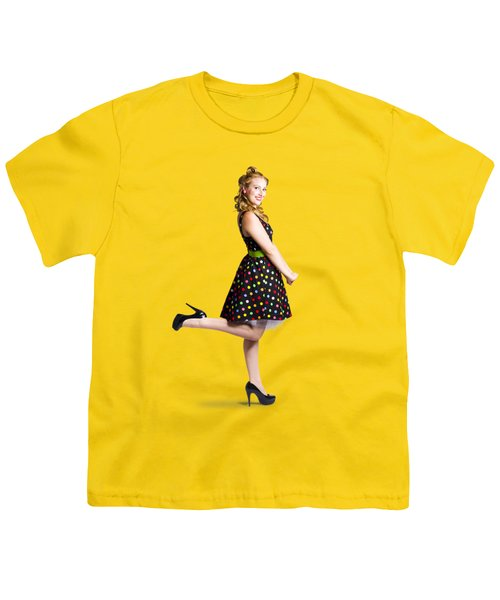 Happy Woman In Retro Dress Youth T-Shirt