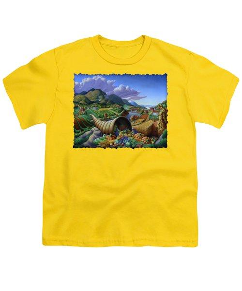 Horn Of Plenty - Cornucopia - Autumn Thanksgiving Harvest Landscape Oil Painting - Food Abundance Youth T-Shirt