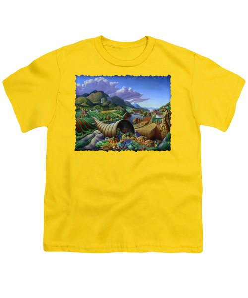 Horn Of Plenty - Cornucopia - Autumn Thanksgiving Harvest Landscape Oil Painting - Food Abundance Youth T-Shirt