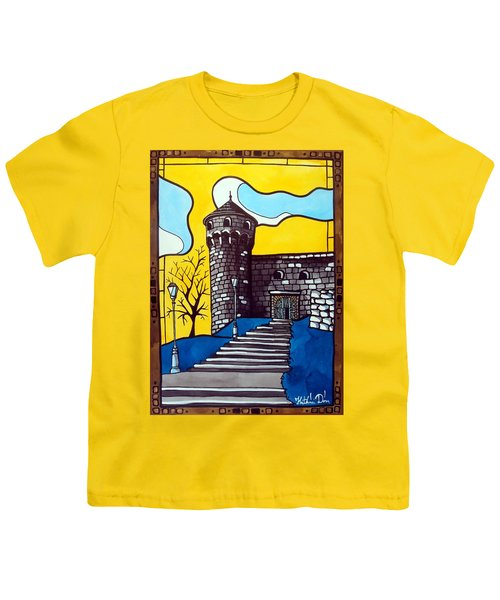 Youth T-Shirt featuring the painting Medieval Bastion -  Mace Tower Of Buda Castle Hungary By Dora Hathazi Mendes by Dora Hathazi Mendes