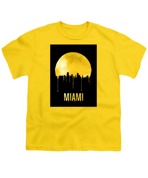 Miami Skyline Yellow Youth T-Shirt by Naxart Studio