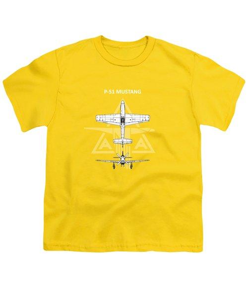 P-51 Mustang Youth T-Shirt by Mark Rogan