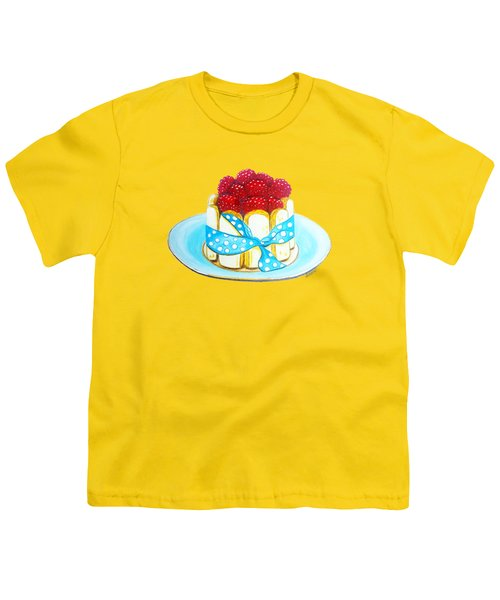 Raspberry Finger Biscuit Dessert Illustration Youth T-Shirt by Sonja Taljaard