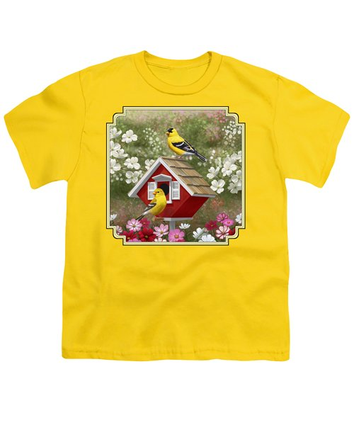 Red Birdhouse And Goldfinches Youth T-Shirt