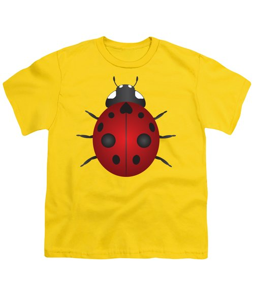 Red Ladybug Color Illustration Youth T-Shirt by Jit Lim