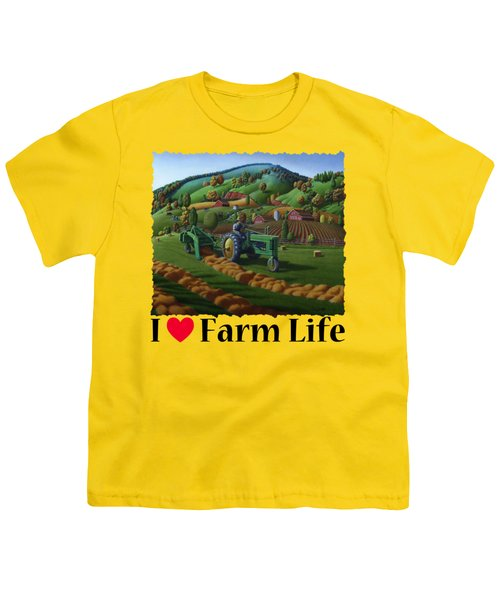 Rustic John Deere Farm Tractor Baling Hay - Rural Country Folk Art Landscape - Summer Americana Youth T-Shirt
