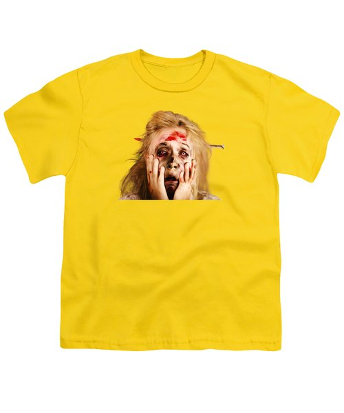 Scared Halloween Monster With Nail Through Head Youth T-Shirt by Jorgo Photography - Wall Art Gallery