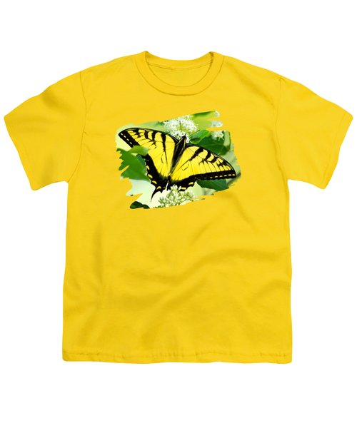 Swallowtail Butterfly Feeding On Flowers Youth T-Shirt by Christina Rollo