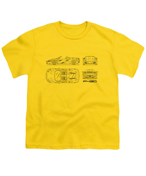 The F430 Blueprint - White Youth T-Shirt by Mark Rogan