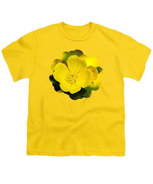 Yellow Flowers - Evening Primrose Youth T-Shirt by Christina Rollo