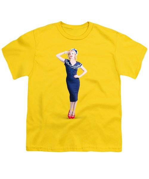 Young Retro Pinup Girl Wearing Sailor Uniform Youth T-Shirt by Jorgo Photography - Wall Art Gallery