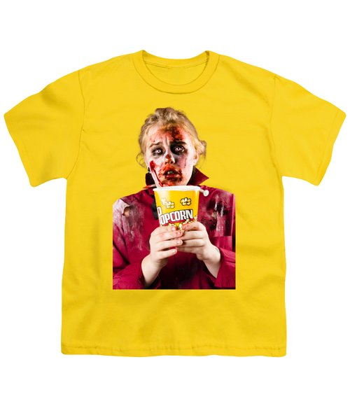 Zombie Woman Watching Scary Movie With Popcorn Youth T-Shirt