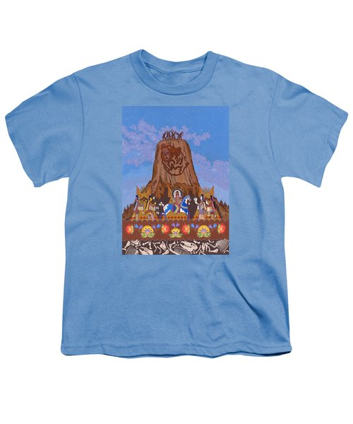 Youth T-Shirt featuring the painting Legend Of Bear's Tipi by Chholing Taha