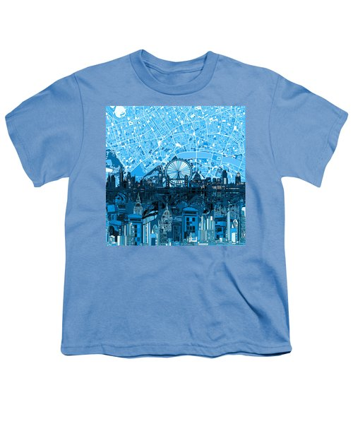 London Skyline Abstract Blue Youth T-Shirt