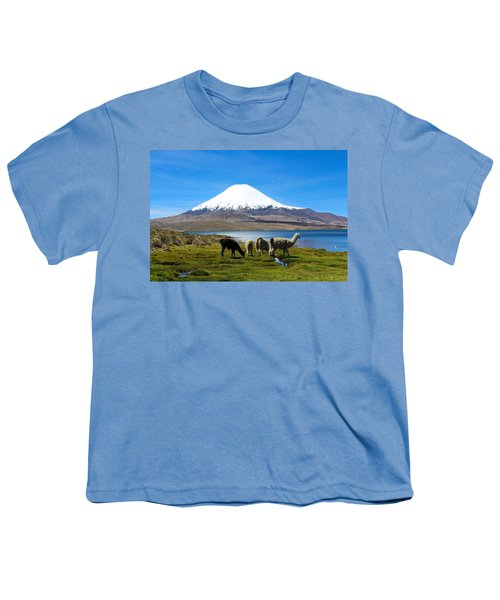 Parinacota Volcano Lake Chungara Chile Youth T-Shirt by Kurt Van Wagner