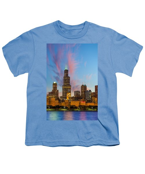 Youth T-Shirt featuring the photograph Sears Tower Sunset by Sebastian Musial
