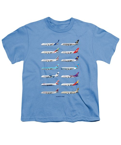Airbus A380 Operators Illustration - Blue Version Youth T-Shirt