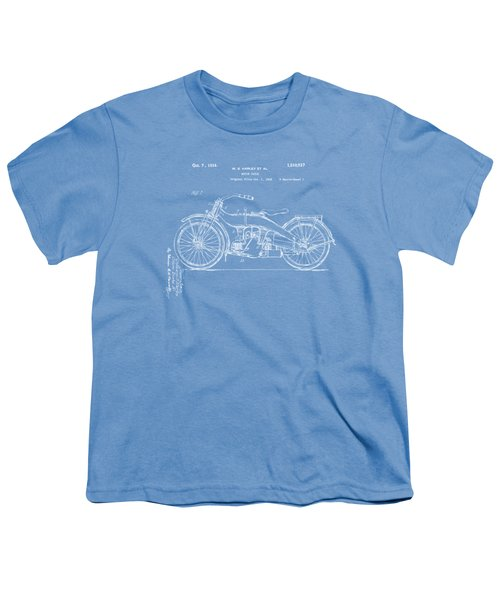 1924 Harley Motorcycle Patent Artwork Blueprint Youth T-Shirt