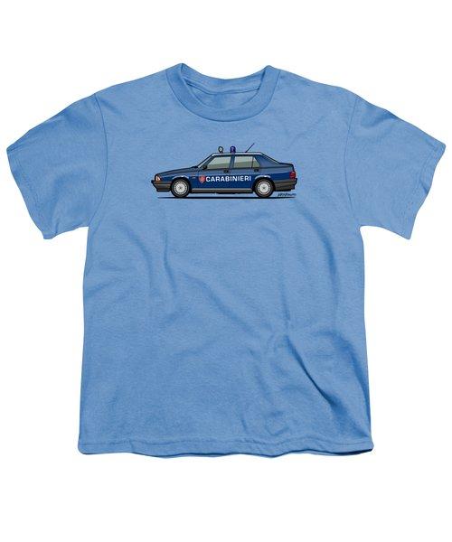 Alfa Romeo 75 Tipo 161, 162b Milano Carabinieri Italian Police Car Youth T-Shirt by Monkey Crisis On Mars