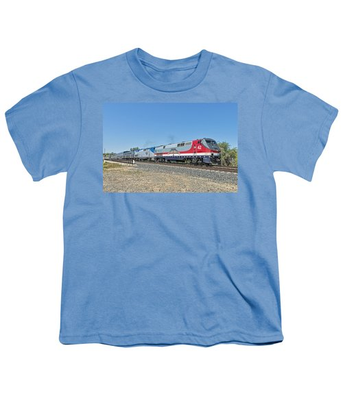 Youth T-Shirt featuring the photograph Amtrak 42  Veteran's Special by Jim Thompson