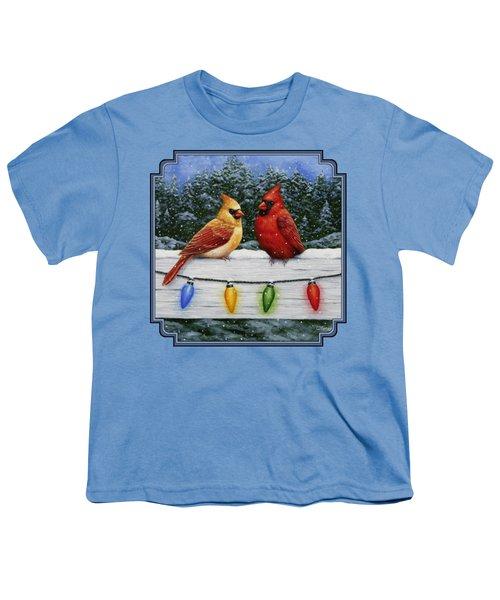 Bird Painting - Christmas Cardinals Youth T-Shirt