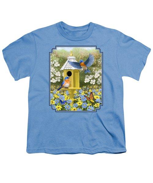 Bluebird Garden Home Youth T-Shirt by Crista Forest