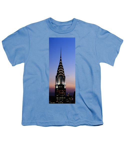 Building Lit Up At Twilight, Chrysler Youth T-Shirt by Panoramic Images