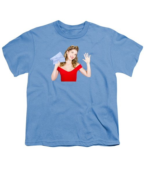 Cleaning Pin Up Maid Holding Washer Rag On White Youth T-Shirt by Jorgo Photography - Wall Art Gallery