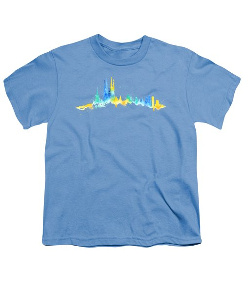 Color Barcelona Skyline 02 Youth T-Shirt by Aloke Creative Store