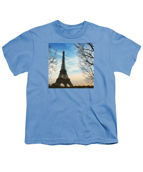 Eiffel Tower And Contrails Youth T-Shirt