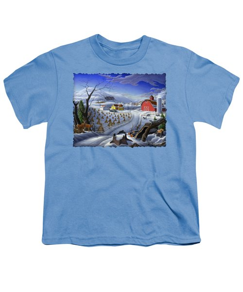 Folk Art Winter Landscape Youth T-Shirt