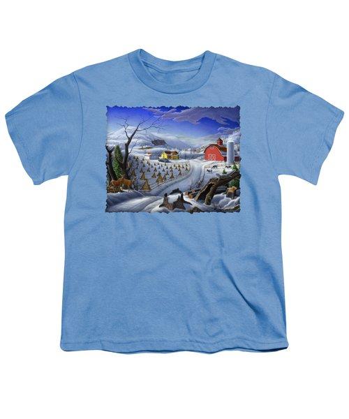 Folk Art Winter Landscape Youth T-Shirt