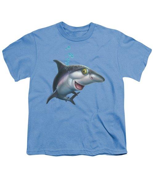 friendly Shark Cartoony cartoon under sea ocean underwater scene art print blue grey  Youth T-Shirt