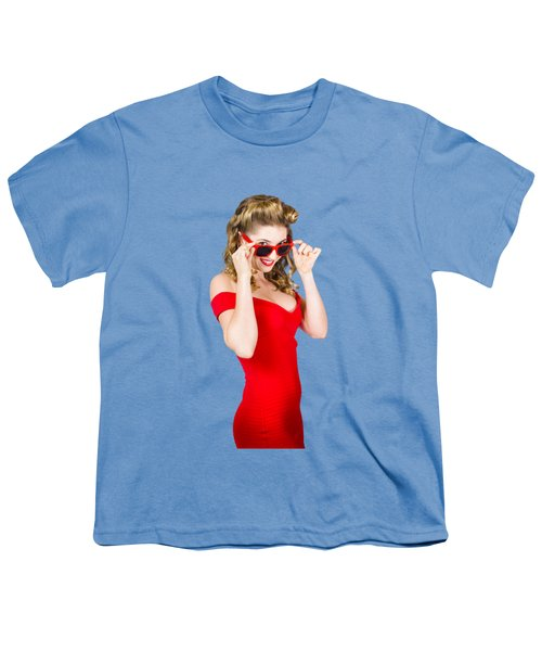 Girl Adjusting Glasses To Flashback A 1950s Look Youth T-Shirt