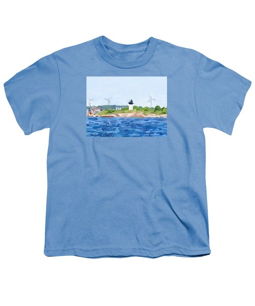 Gloucester Skyline From Harbor With Windmills And Ten Pound Island Lighthouse Youth T-Shirt