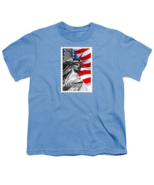Graphic Statue Of Liberty With American Flag Text Liberty Youth T-Shirt by Elaine Plesser