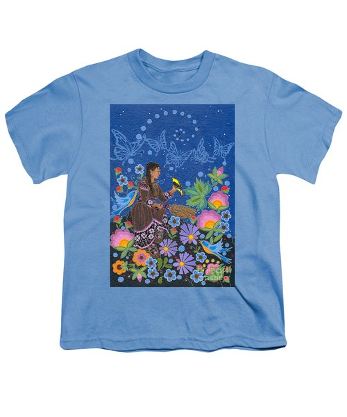Youth T-Shirt featuring the painting Hole In The Sky's Daughter by Chholing Taha
