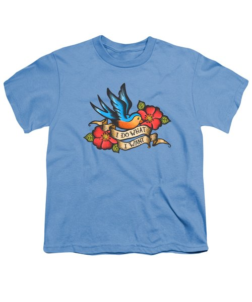 I Do What I Want Vintage Bluebird And Rose Tattoo Youth T-Shirt