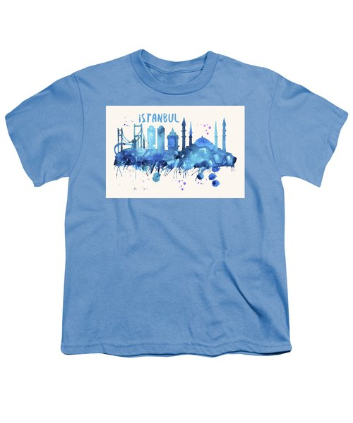 Istanbul Skyline Watercolor Poster - Cityscape Painting Artwork Youth T-Shirt