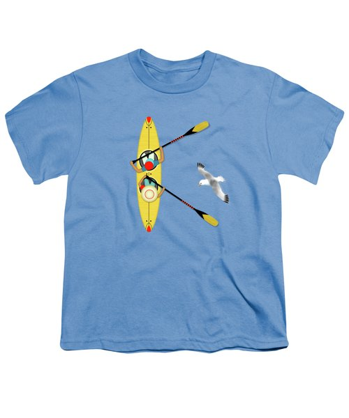 K Is For Kayak And Kittiwake Youth T-Shirt by Valerie Drake Lesiak